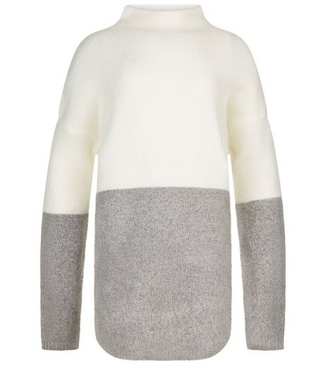 Teens Grey Colour Block Oversized Jumper | New Look