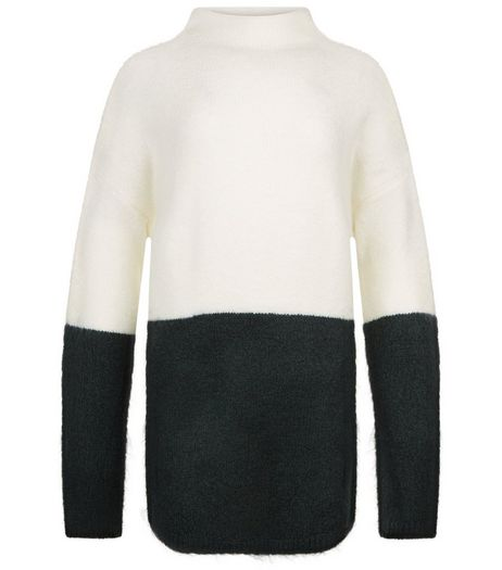 Teens Dark Green Colour Block Oversized Jumper | New Look