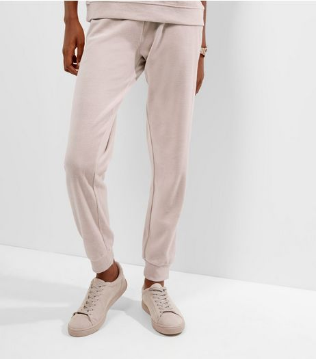 Shell Pink Velour Joggers  | New Look