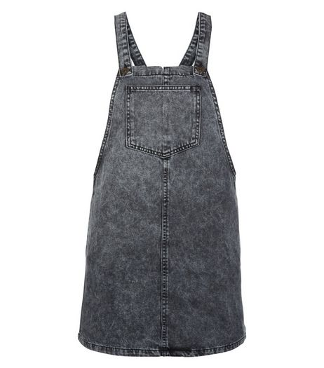 Teens Grey Acid Wash Pinafore Dress | New Look