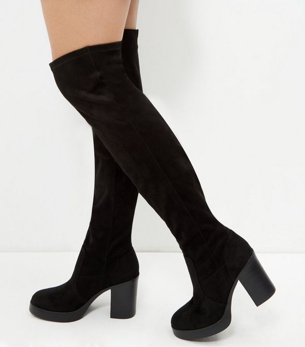 Black Suedette Block Heel Over The Knee Boots