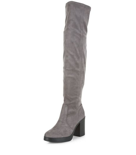 Grey Suedette Block Heel Over The Knee Boots  | New Look