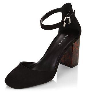 Black Suedette Shoes Strap Flats