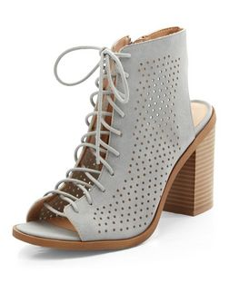 Grey Suedette Perforated Ghillie Block Heels | New Look
