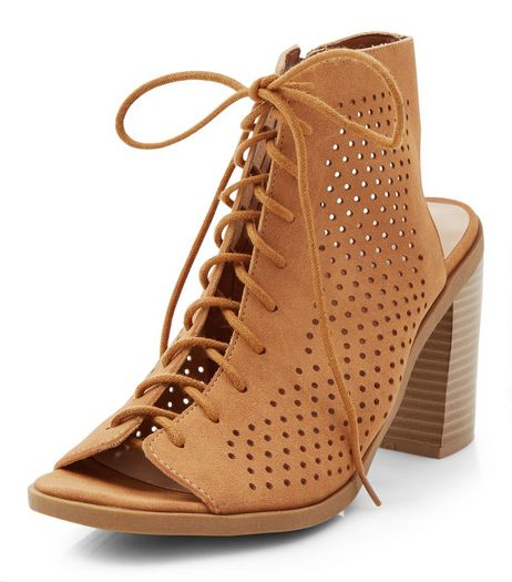 Tan Suedette Laser Cut Out Ghillie Block Heels | New Look