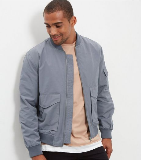 Grey Popper Sleeve Bomber Jacket | New Look