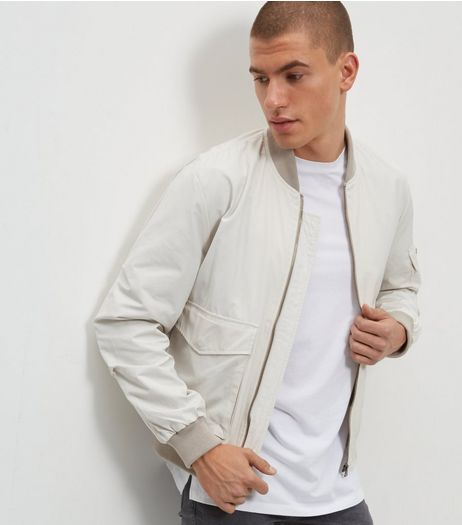 Stone Popper Sleeve Bomber Jacket | New Look