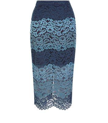 Gonna  donna Blue Stripe Lace Split Hem Pencil Skirt