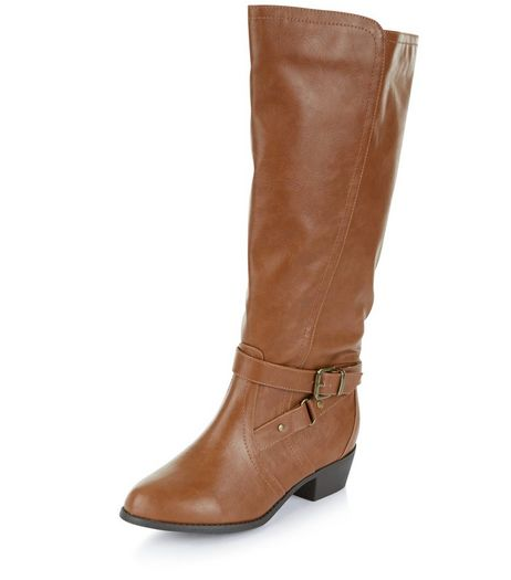 Wide Fit Tan Knee High Boots  | New Look