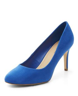 Blue Suedette Court Shoes  | New Look