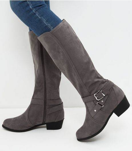 Wide Fit Grey Suedette Knee High Boots | New Look