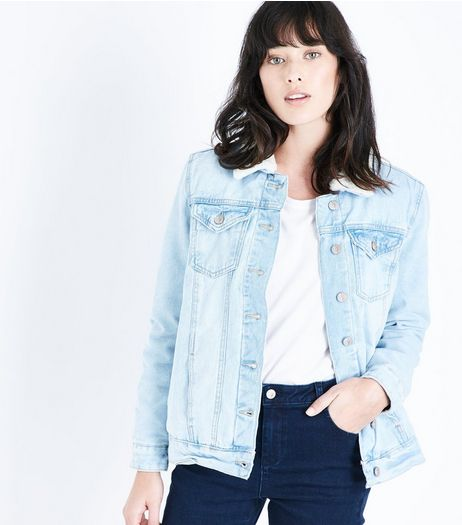 Blue Borg Lined Denim Jacket  | New Look