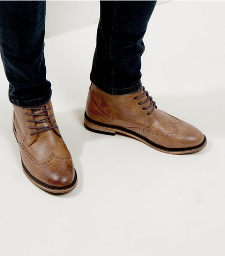 Tan Brogue Ankle Boots | New Look