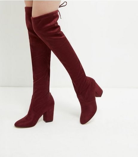 Red Suedette Tie Back Over The Knee Boots  | New Look