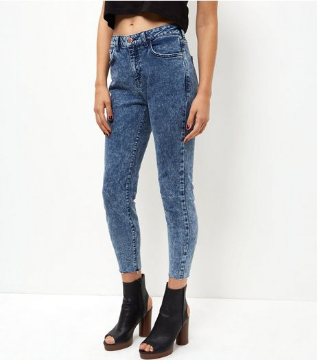 Blue Acid Wash Curved Hem Skinny Jeans  | New Look