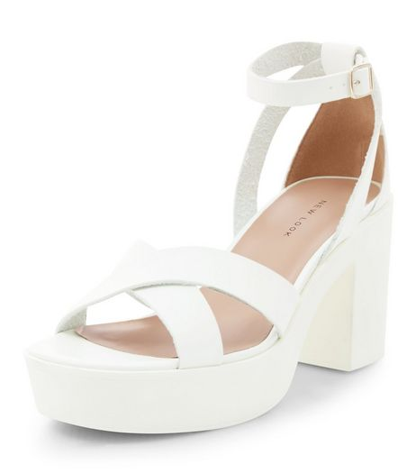 White Leather-Look Chunky Platform Heels | New Look