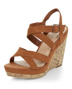Tan Suedette Cross Strap Wedges  | New Look