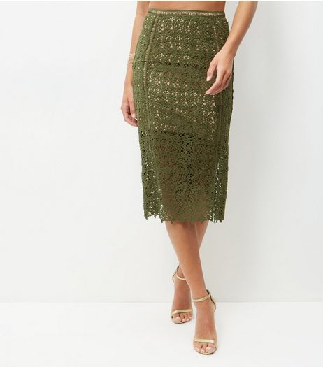Khaki Premium Lace Ladder Pencil Skirt  | New Look