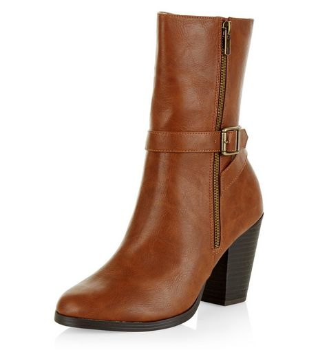 Tan Buckle Strap Block Heel Calf Boots  | New Look