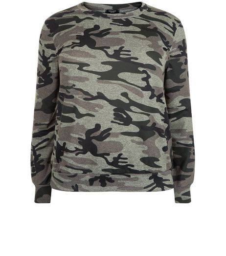 Curves Khaki Camo Print Sweater  | New Look