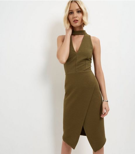 Khaki Cut Out Wrap Front Bodycon Dress  | New Look