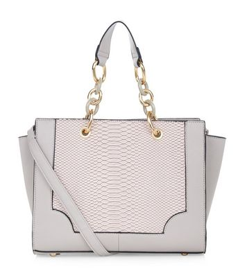 Mink Snakeskin Panel Chain Strap Tote Bag