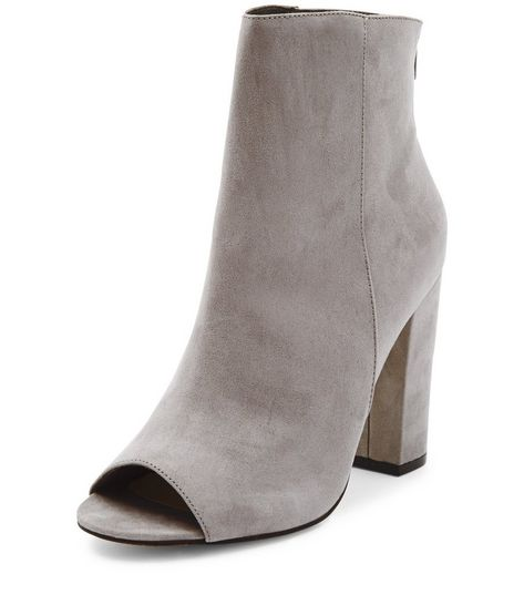 Grey Suedette Peep Toe Block Heel Boots  | New Look