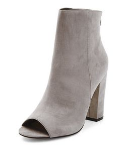 Grey Suede Peep Toe Block Heel Boots  | New Look