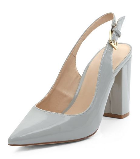 Grey Leather-Look Sling Back Court Shoes | New Look