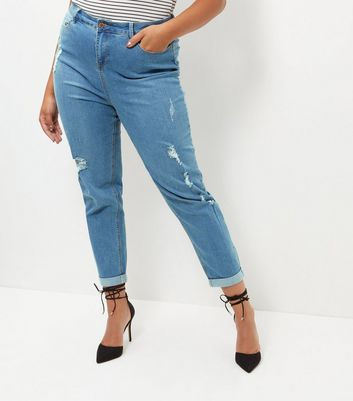 Curves Blue Ripped Turn Up Hem Boyfriend Jeans