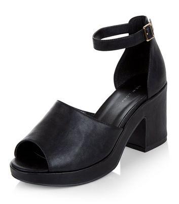 Sandalo  donna Black Peep Toe Ankle Strap Block Heels
