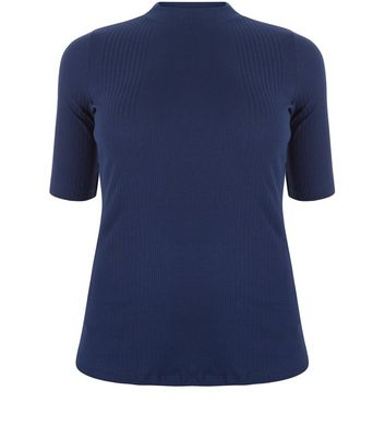 Curves Navy Ribbed Funnel Neck Top