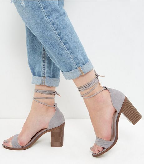 Grey Leather Lace Up Block Heel Sandals  | New Look