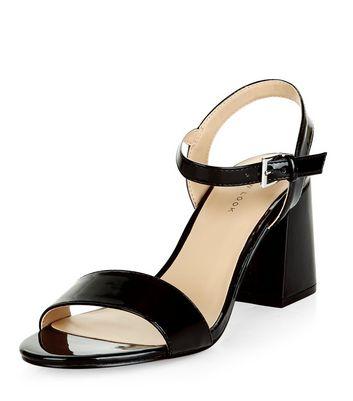 Sandalo  donna Black Patent Ankle Strap Block Heels
