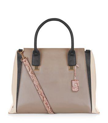 Mink Colour Block Tote Bag