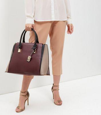 Burgundy Colour Block Tote Bag
