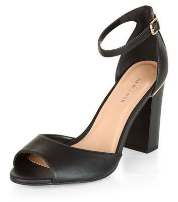 Sandalo  donna Black Peep Toe Metal Trim Block Heel Sandals
