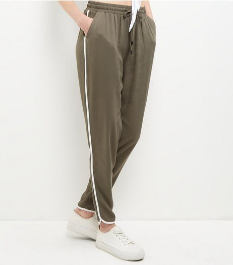 Khaki Contrast Trim Joggers  | New Look