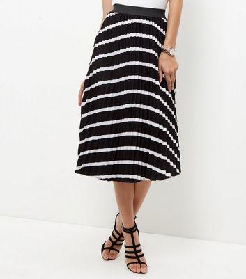 Gonna  donna Monochrome Stripe Pleated Midi Skirt