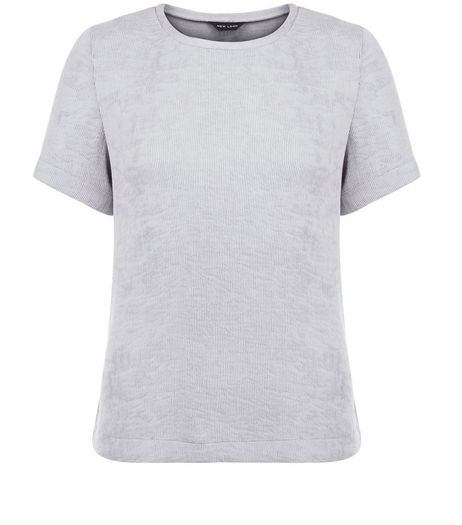 Grey Woven Split Side T-Shirt | New Look