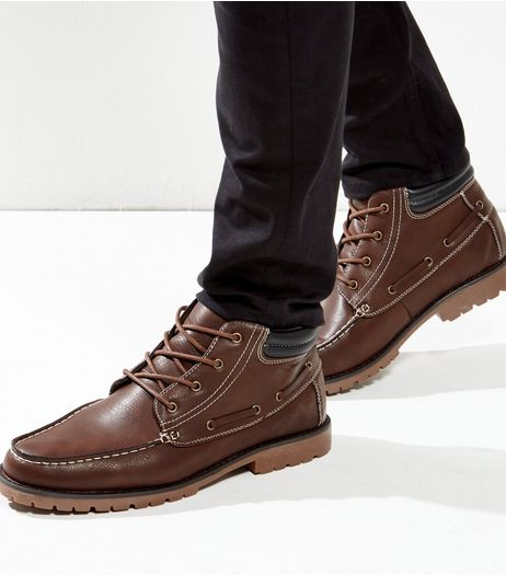 Brown Cleated Moccasin Boots | New Look