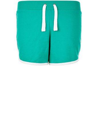 teens-green-contrast-trim-shorts