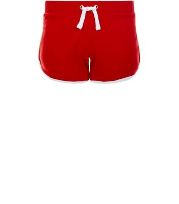 teens-red-contrast-trim-shorts
