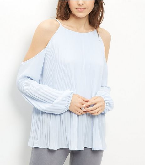 Pale Blue Pleated Cold Shoulder Long Sleeve Top  | New Look