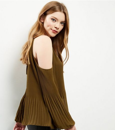 Khaki Pleated Cold Shoulder Long Sleeve Top  | New Look