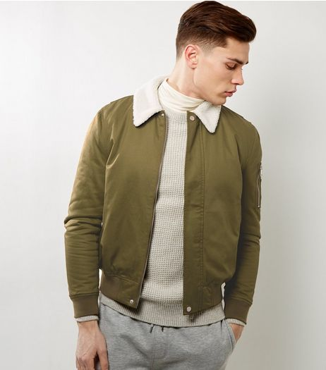 Khaki Borg Trim Bomber Jacket | New Look