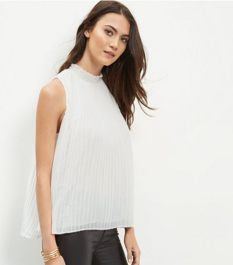 White Pleated Funnel Neck Sleeveless Top | New Look