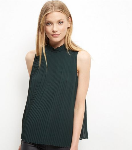 Dark Green Pleated Funnel Neck Sleeveless Top | New Look