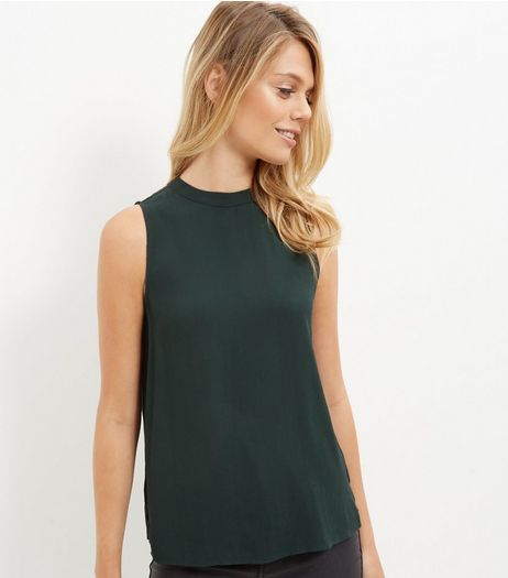 Dark Green Funnel Neck Longline Sleeveless Top | New Look