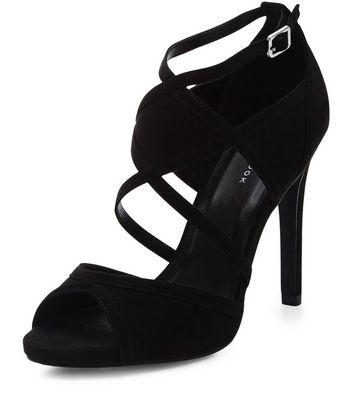 Sandalo  donna Black Suedette Strappy Heels